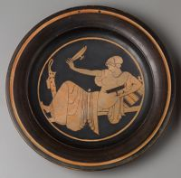 Plate: Woman Playing Kottabos