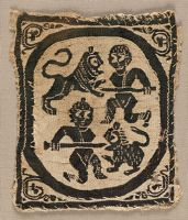 Tunic Ornament: Two Hunters Battling Lions