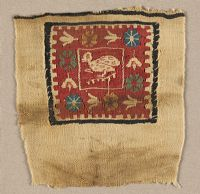 Textile Fragment: Duck And Flowers