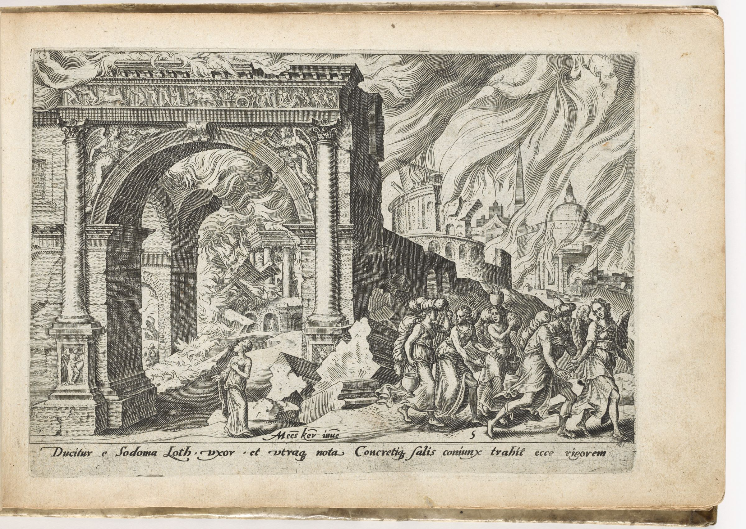 Lot And His Family Leaving The Burning Sodom