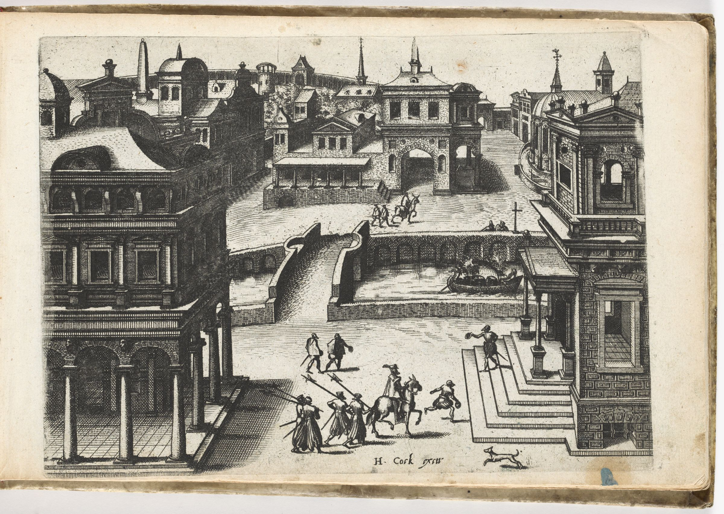 Bird's-Eye View Of A Town With Palaces And A Canal, From The Steps Of A Building In The Right Foreground A Man Is Greeting A Rider On Horseback (N.h.)