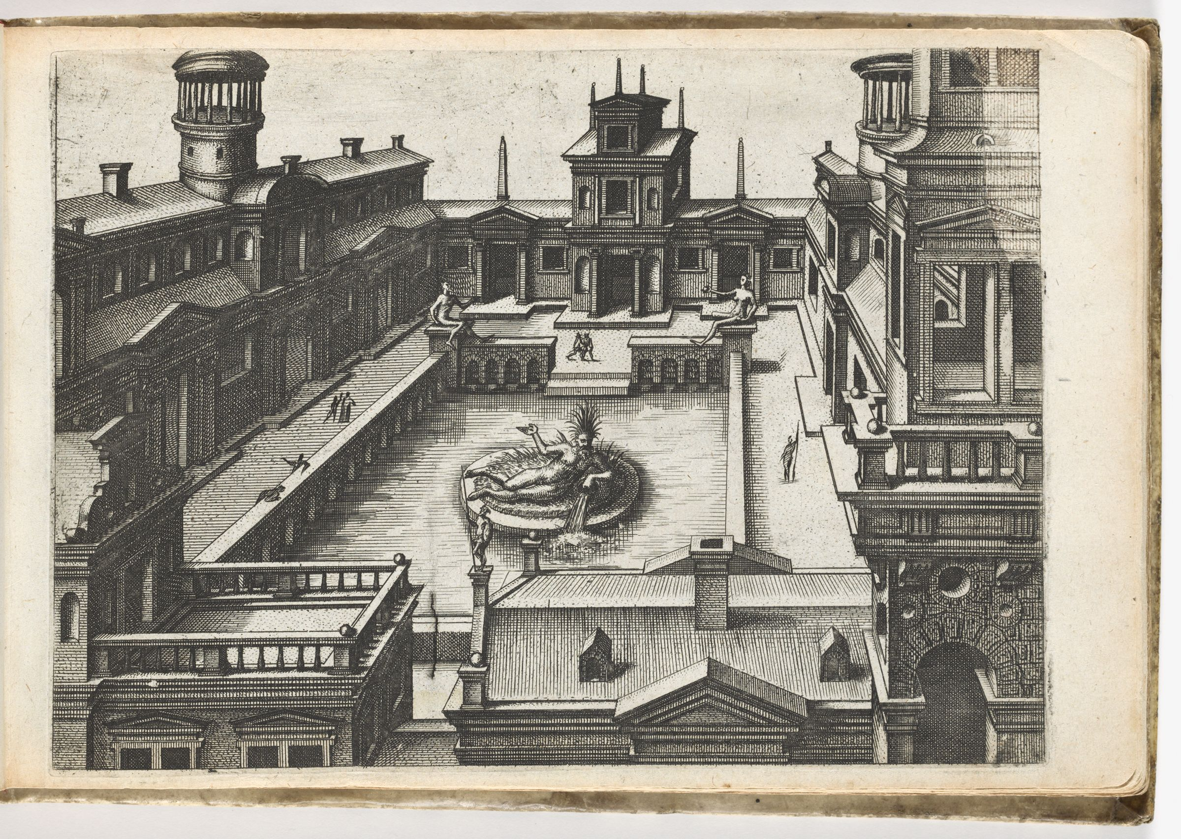 View Into The Courtyard Of A Palace With A Rivergod In The Center Of A Rectangular Pond (N.h.)