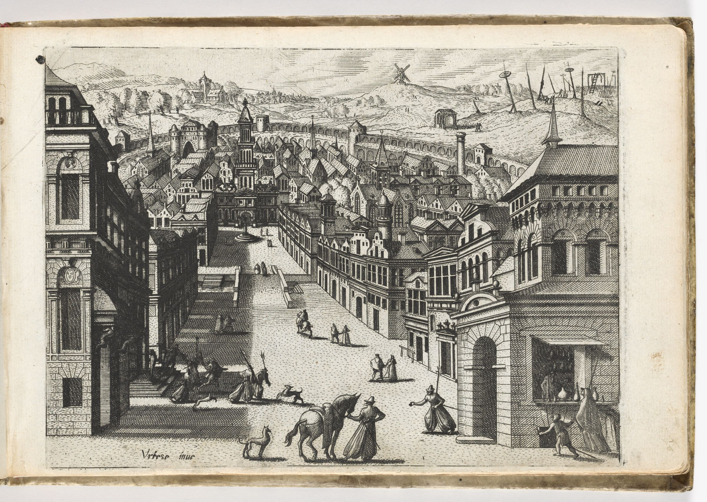 View Of A Street Bordered By Houses Descending Into A Town, Surrounded By A Wall (N.h.)