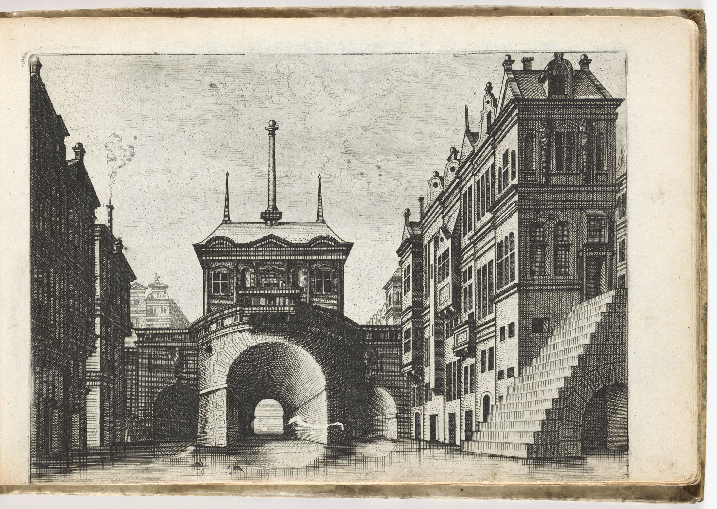 View Of A Canal With Vaulted Bridge, Grand Staircase Rising From The Water In The Right Foreground (N.h.)