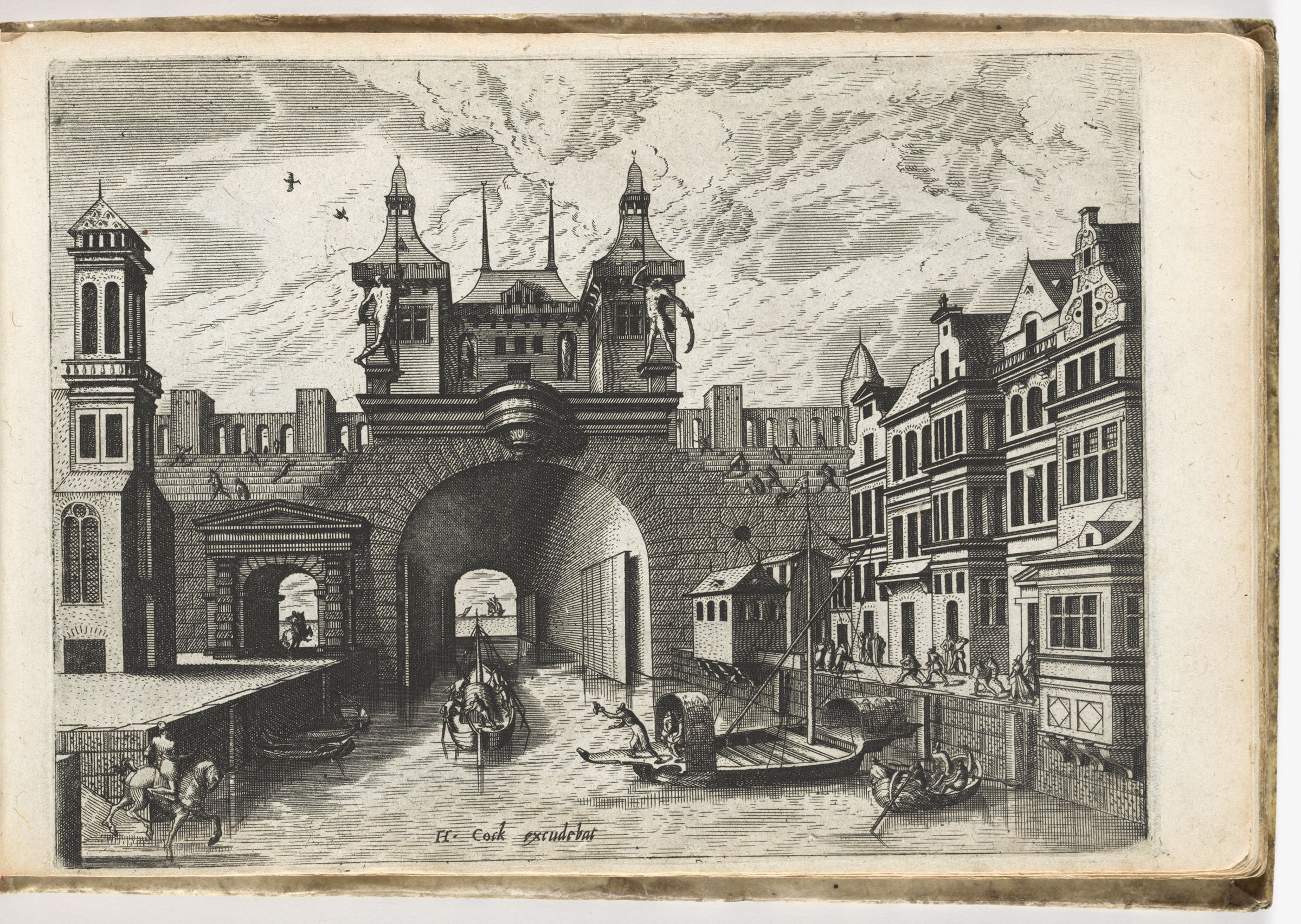 View From A Canal Of The Gate Bridge With Shutters Of A Fortified Town, Street Facade On The Right (N. H.)
