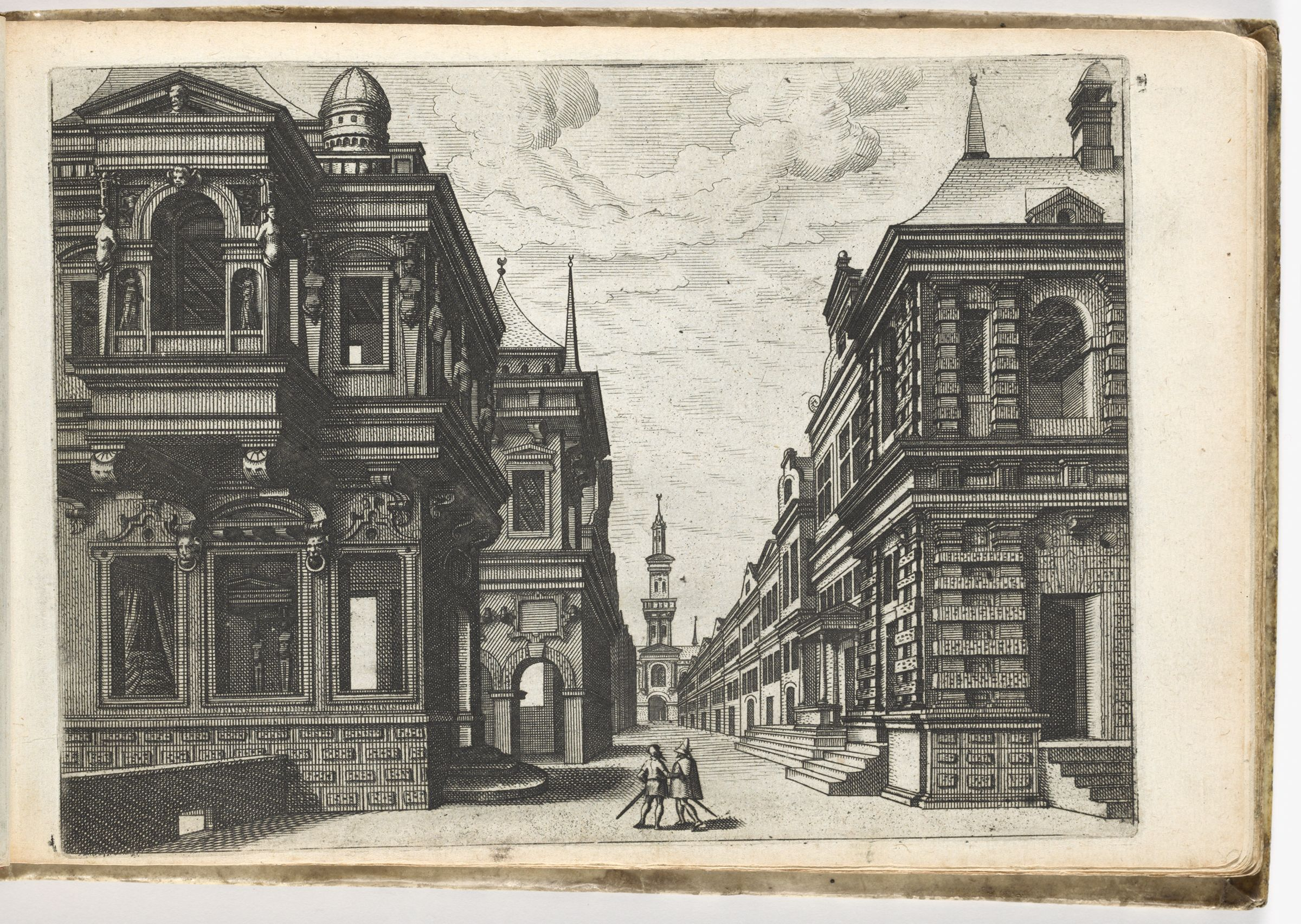 View Of A Street With Houses On Both Sides, In The Left Foreground A Palace