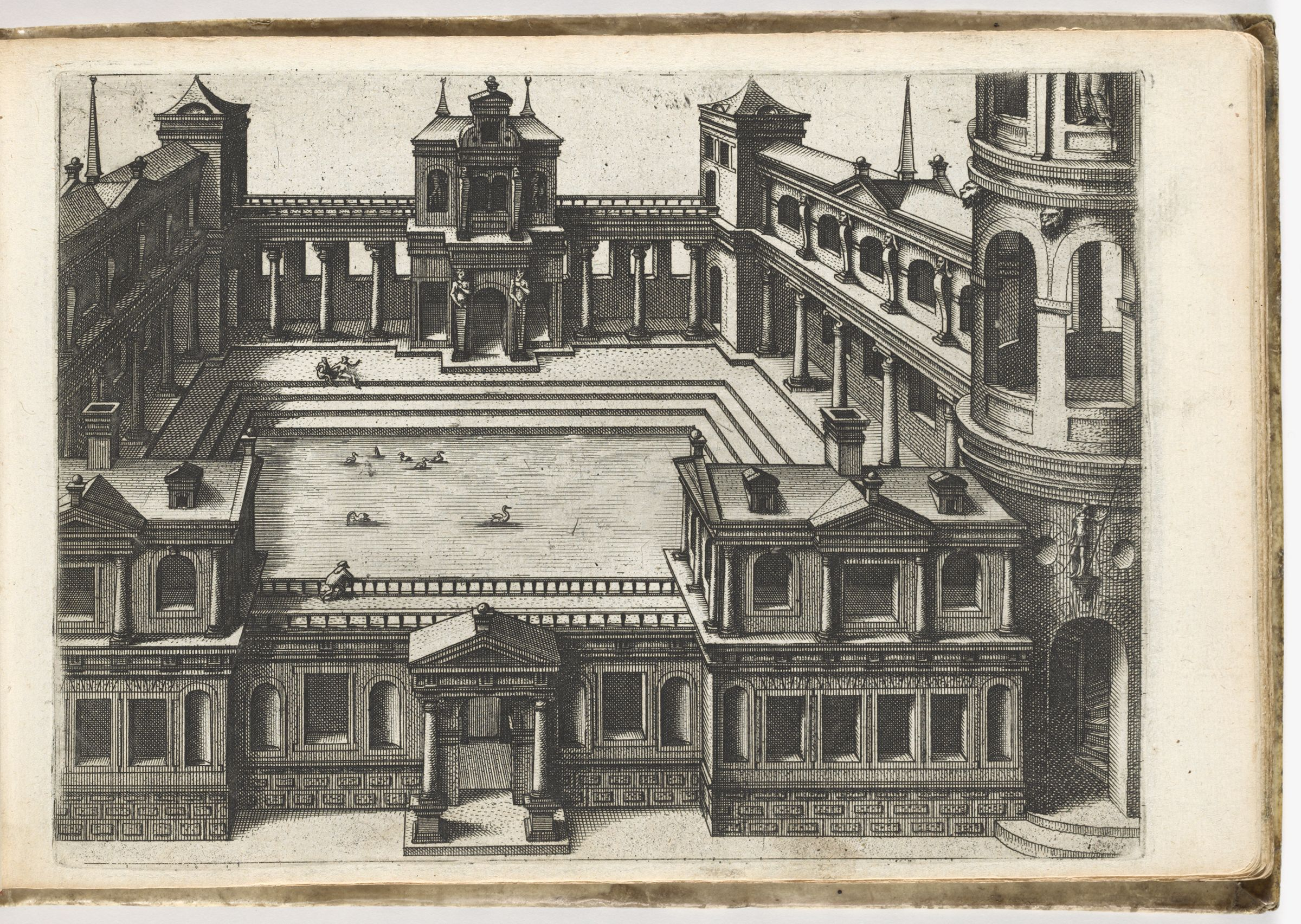 View Into A Palace Courtyard With Ducks In A Pond (N.h.)