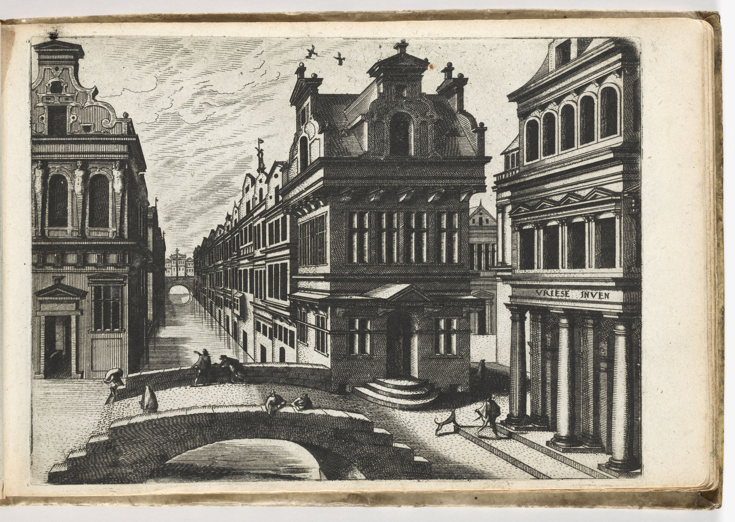 View Down A Canal In A City, Vista Closed By Building With Pediment