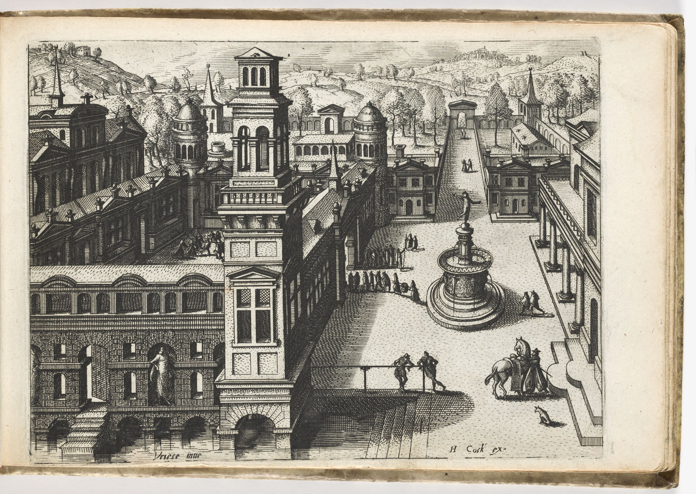 Bird's-Eye View Of A Palace And A Square With A Fountain (N.h.)