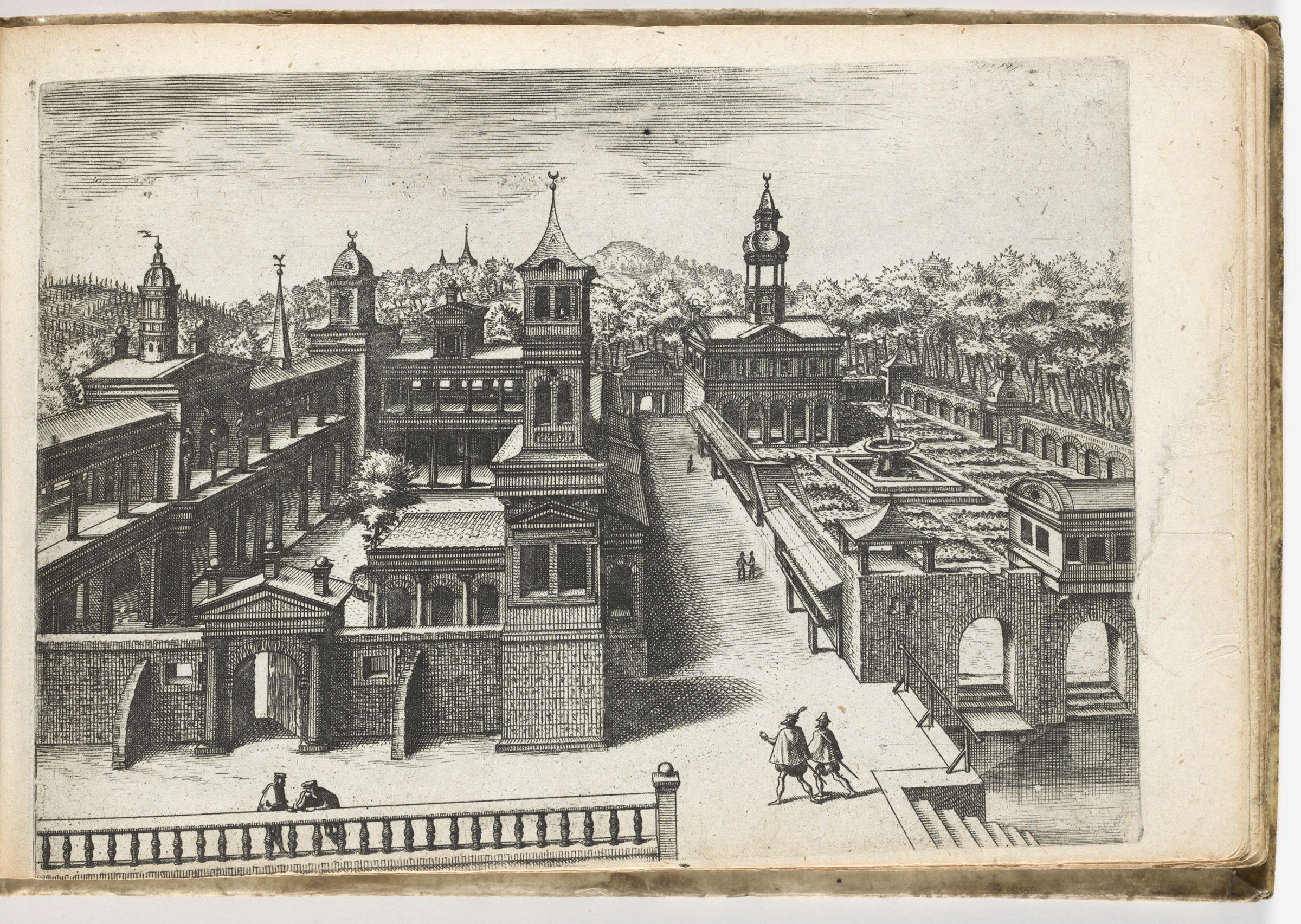 View Of A Palace With Inner Courtyard On The Left And Facing Garden With Fountain (N.h.)