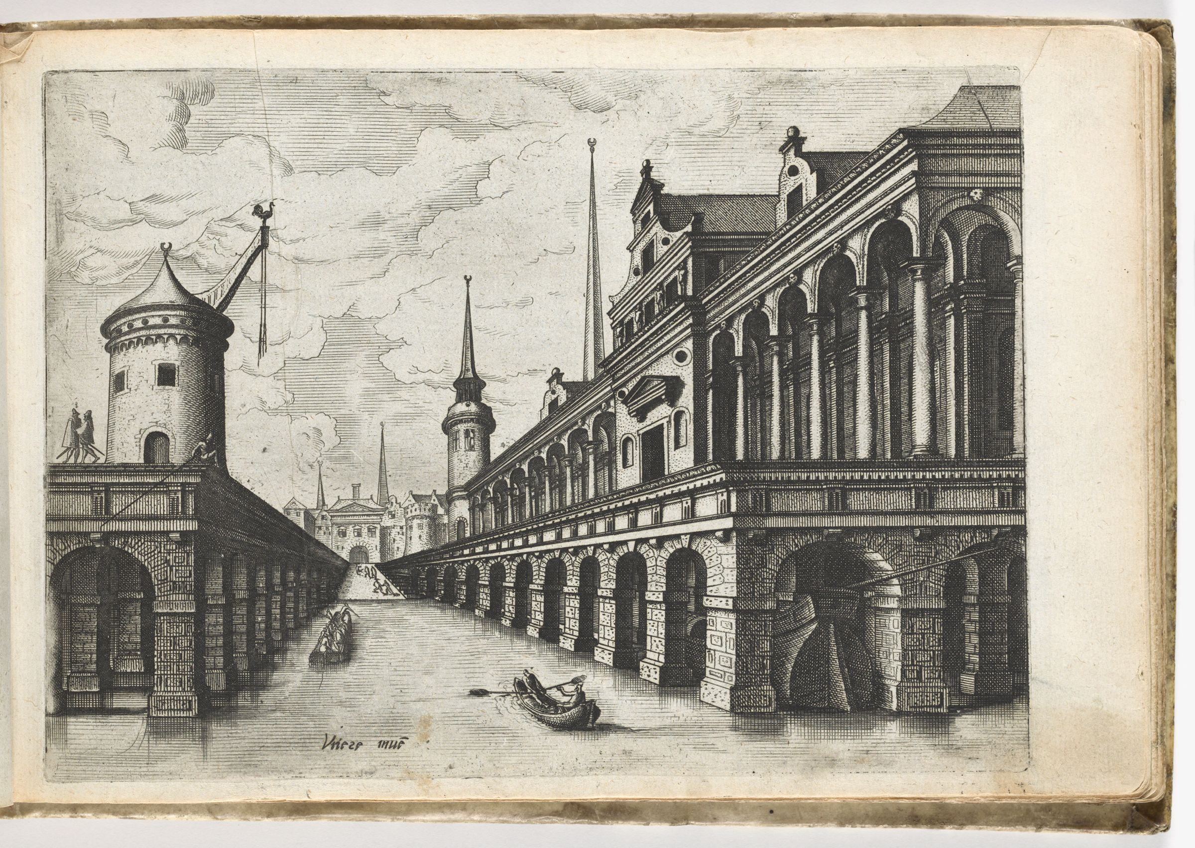 View Of A Harbor-Canal, On The Left A Crane And On The Right A Colonnaded Building (N.h.)