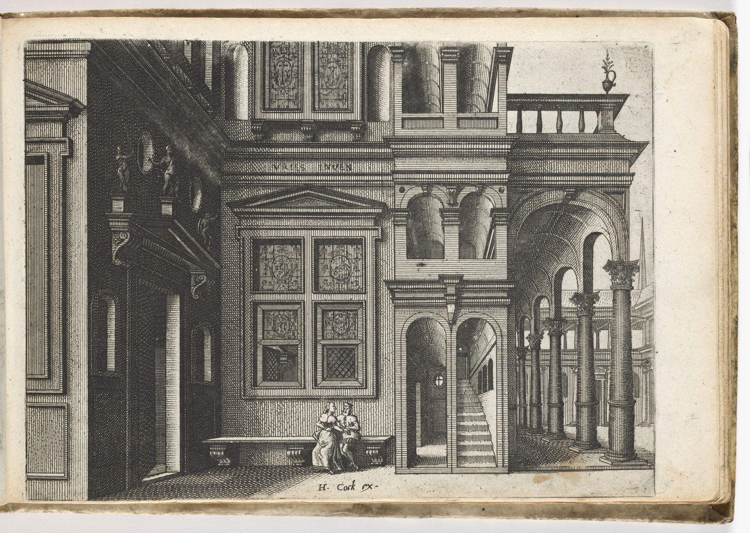 View Of The Inner Courtyard Of A House With A Couple On A Bench (N.h.)