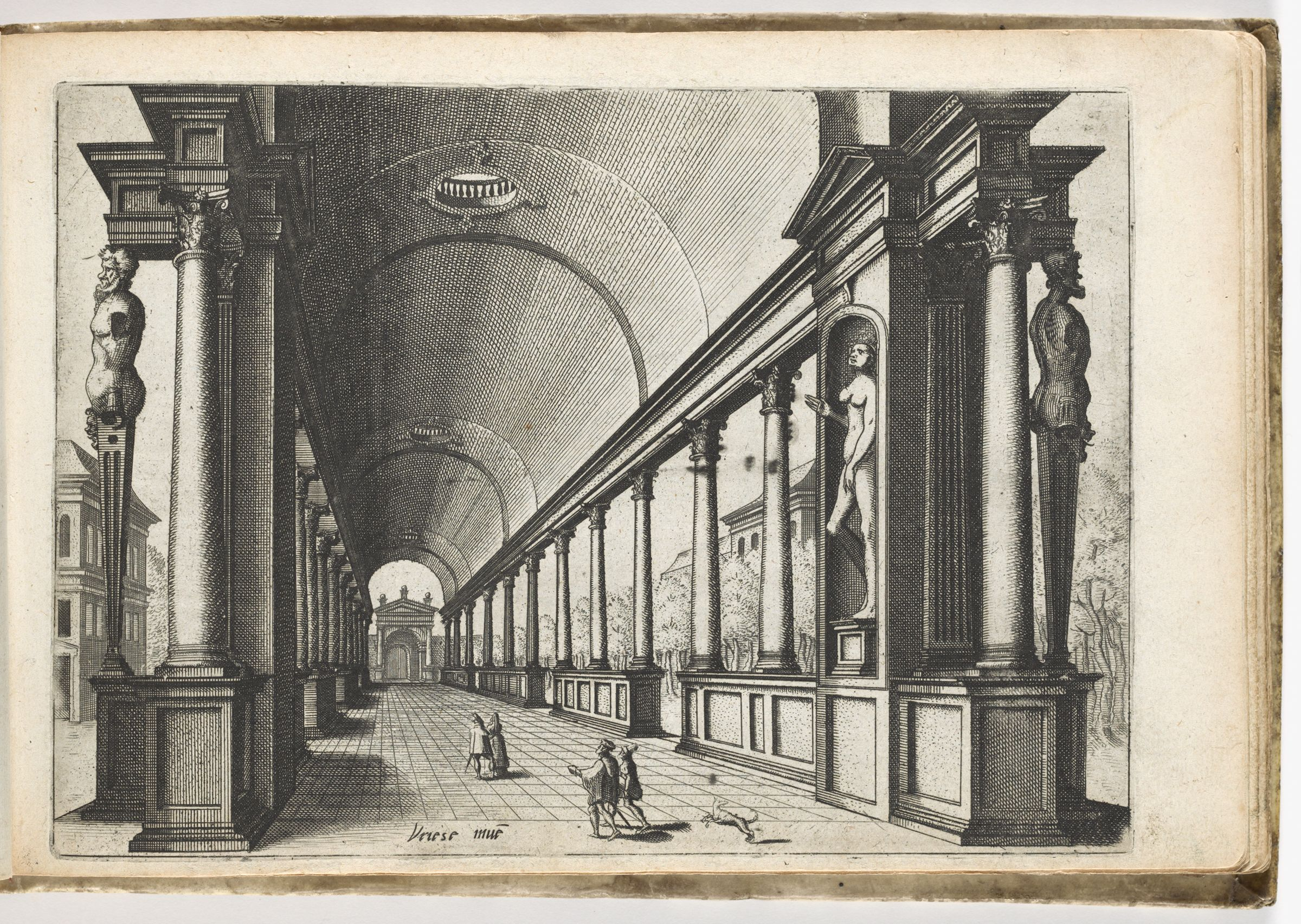 Vaulted Arcade With Columns Of The Corinthian Order And Male Terms Flanking The Entrance (N.h.)