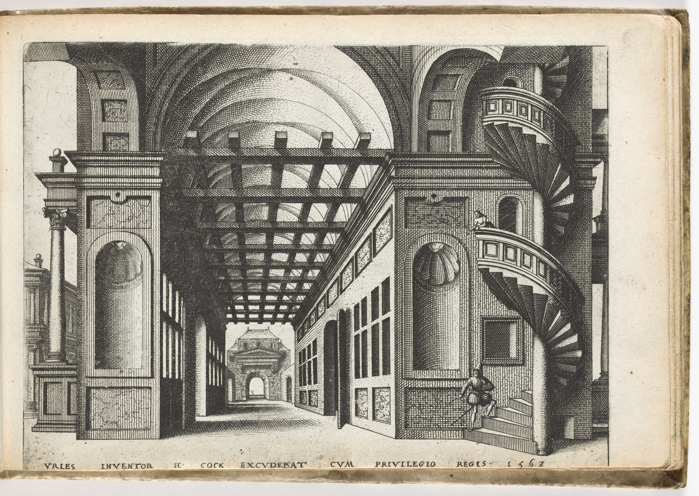 Vaulted Entrance Hall To A House With Winding Stairs On Far Right