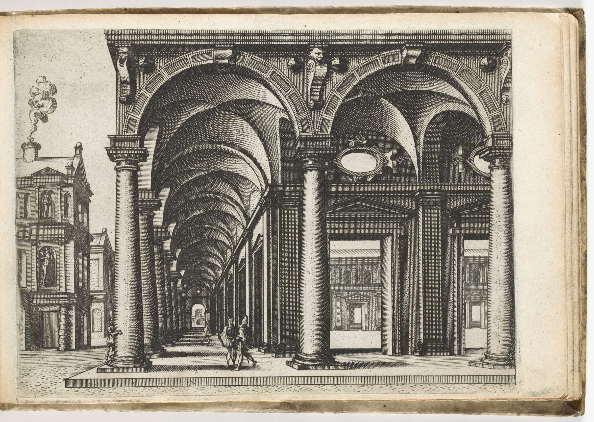 Colonnade With Columns Of The Tuscan Order Surrounding A Courtyard, On The Left A Two Storey Townhouse