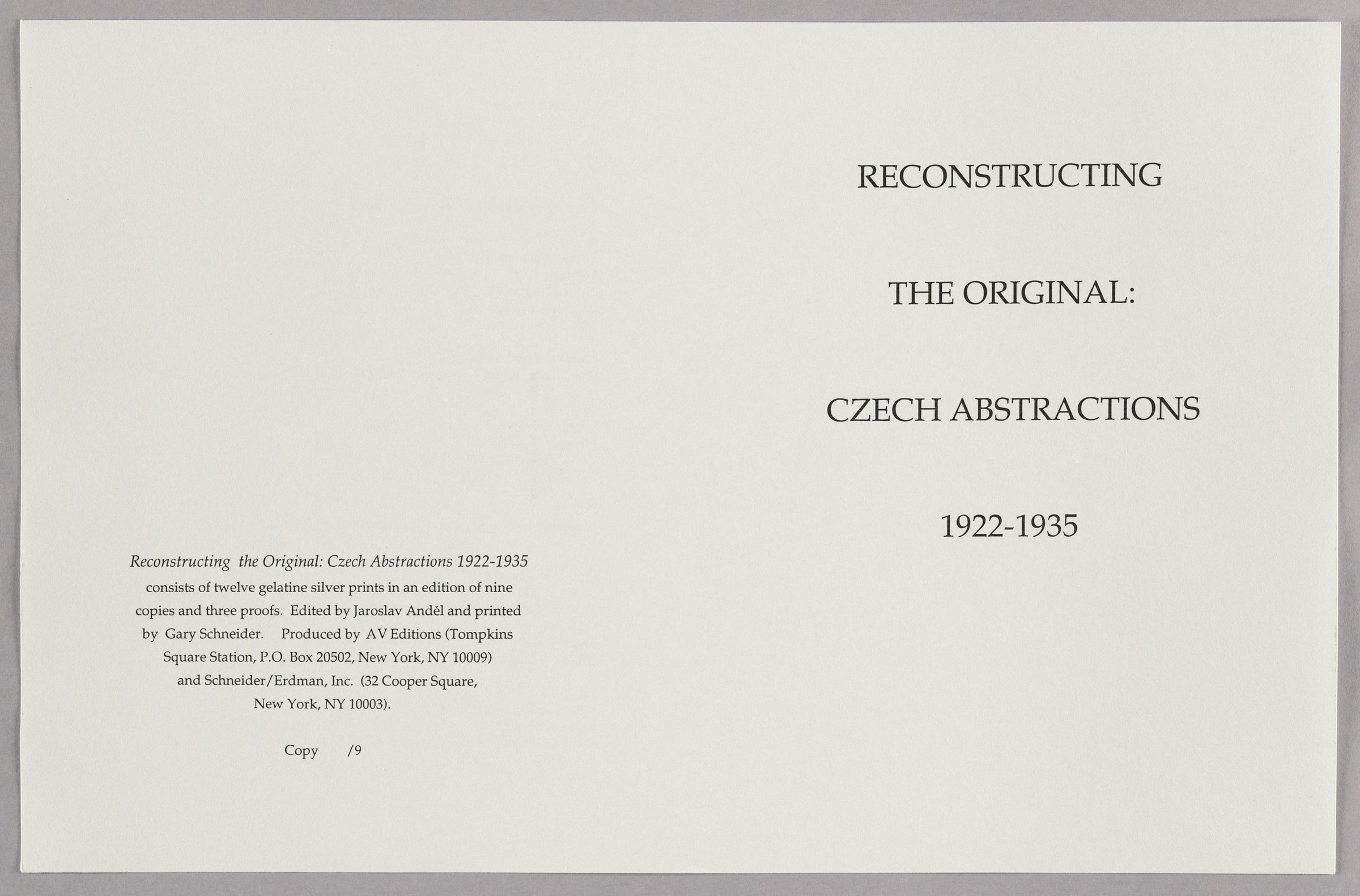 Reconstructing The Original: Czech Abstractions 1922-1935
