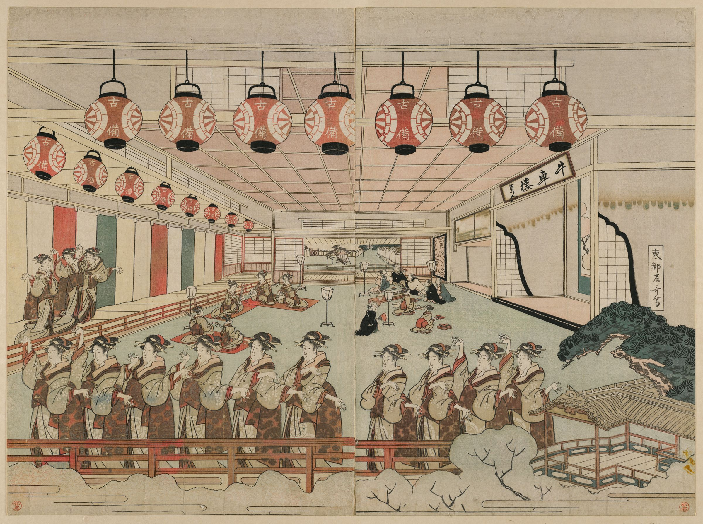 Diptych: Perspective View Of Dancers In An Interior