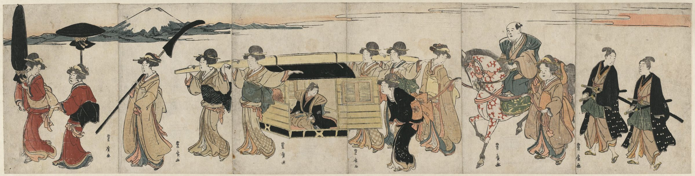 Procession Of Women Carrying Palanquin
