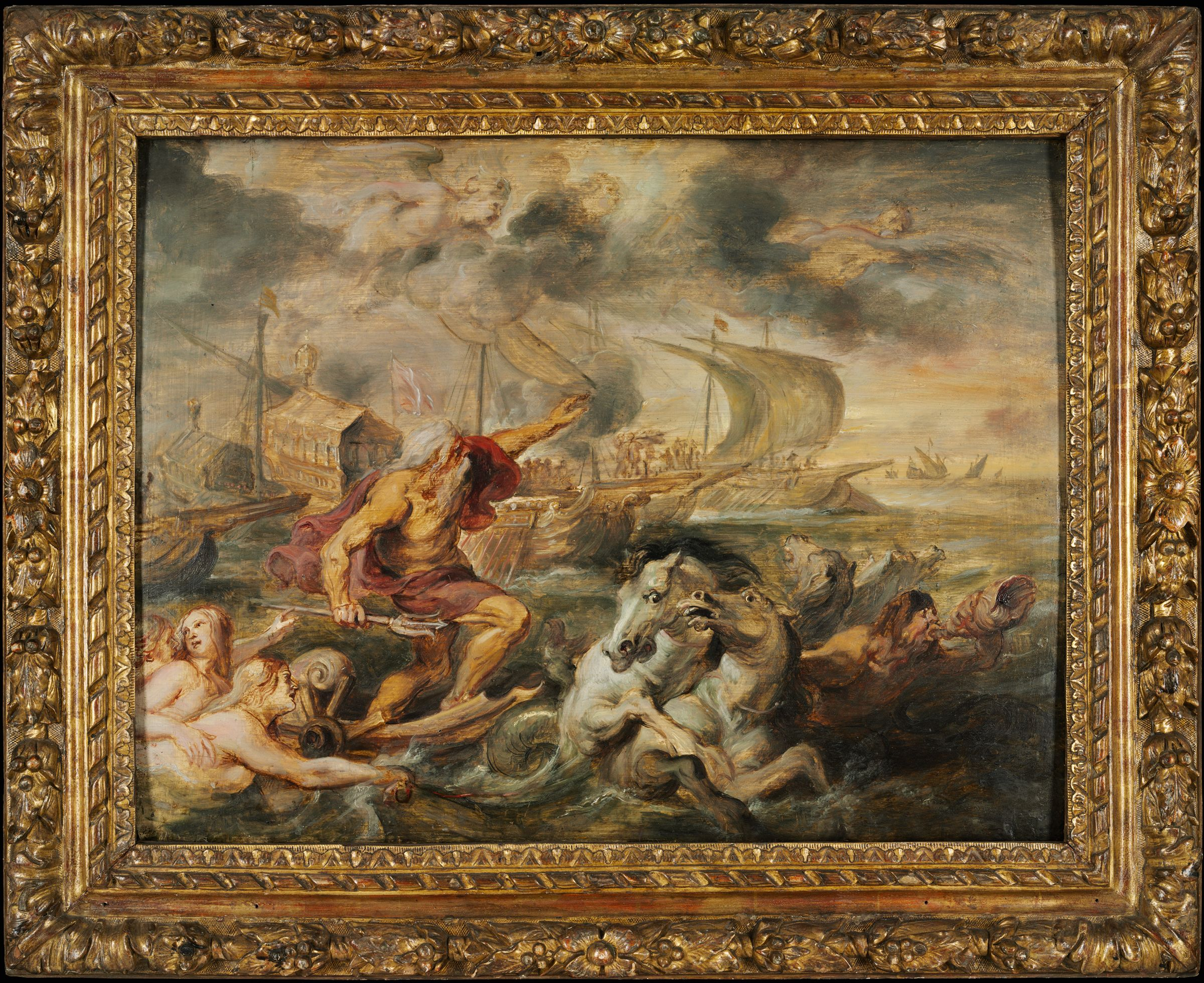 The Voyage Of The Cardinal Infante Ferdinand Of Spain From Barcelona To Genoa In April 1633, With Neptune Calming The Tempest