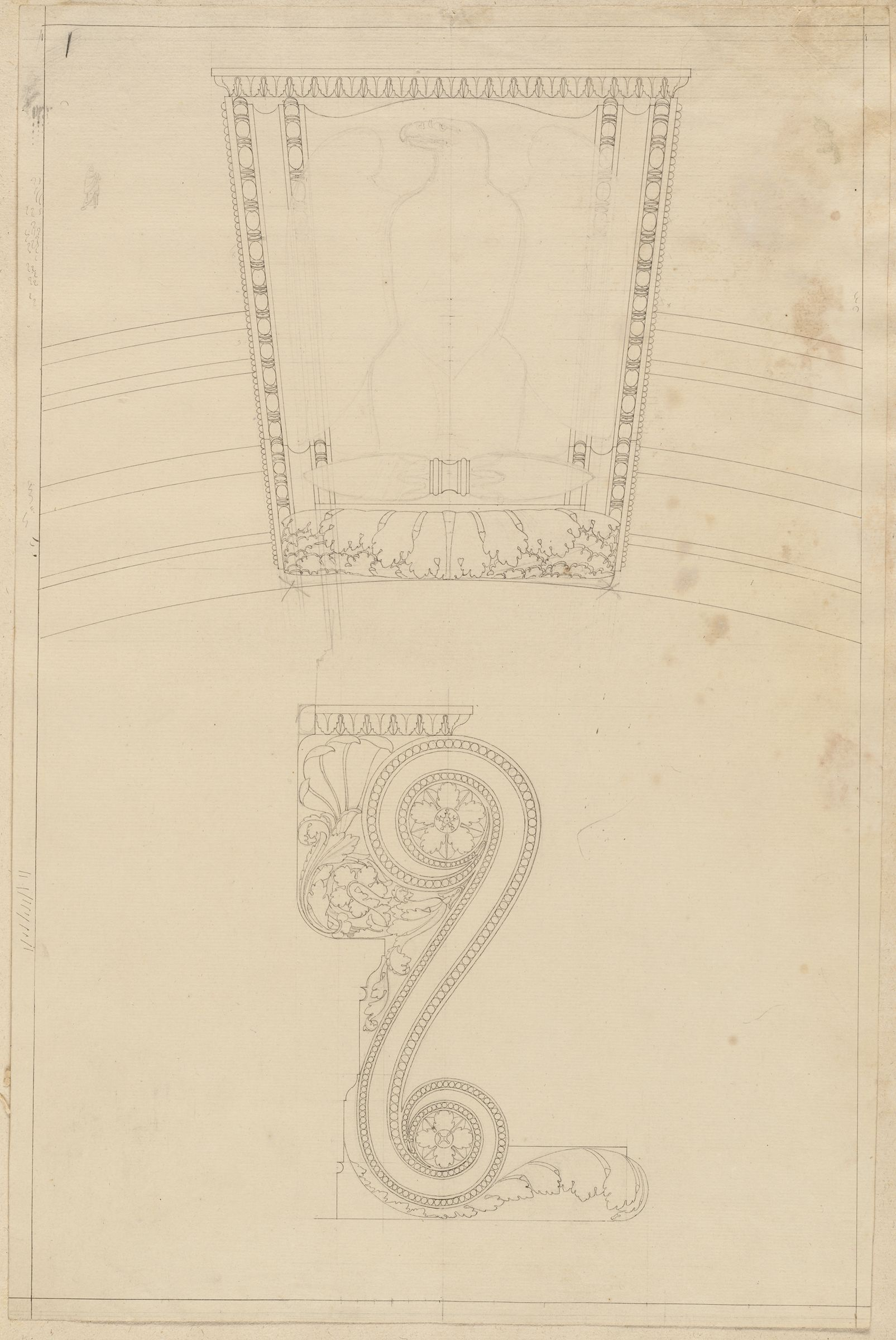Keystone Of An Arch, Frontal View And Profile; Verso: Sketches Of A Ground Plan And A Nude Male Figure