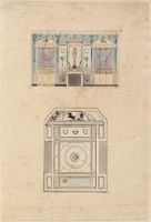 Elevation Of The Fireplace Wall Of A Boudoir
