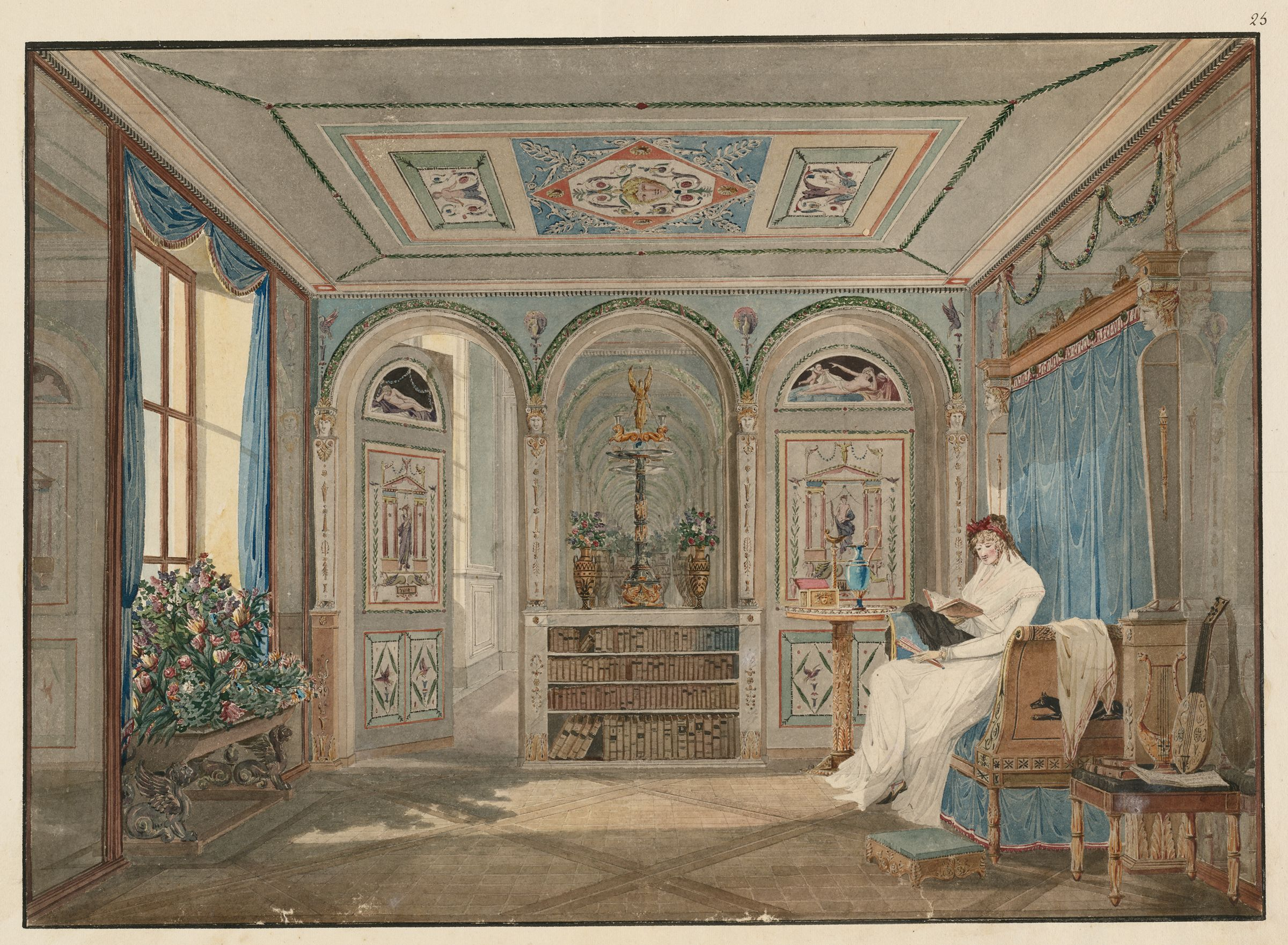 Interior Of A Bedroom With A Woman Reading