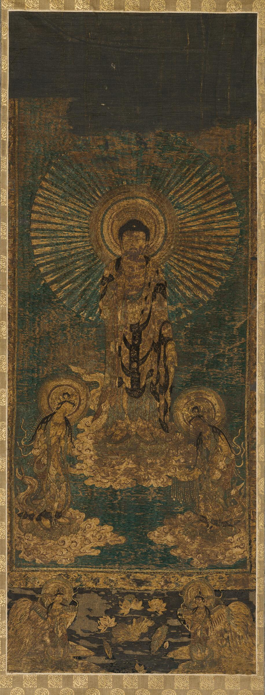 Descent Of The Buddha Amitabha And The Bodhisattvas Avalokitesvara And Mahâsthâmaprâpta (Amida Sanzon Raigô)