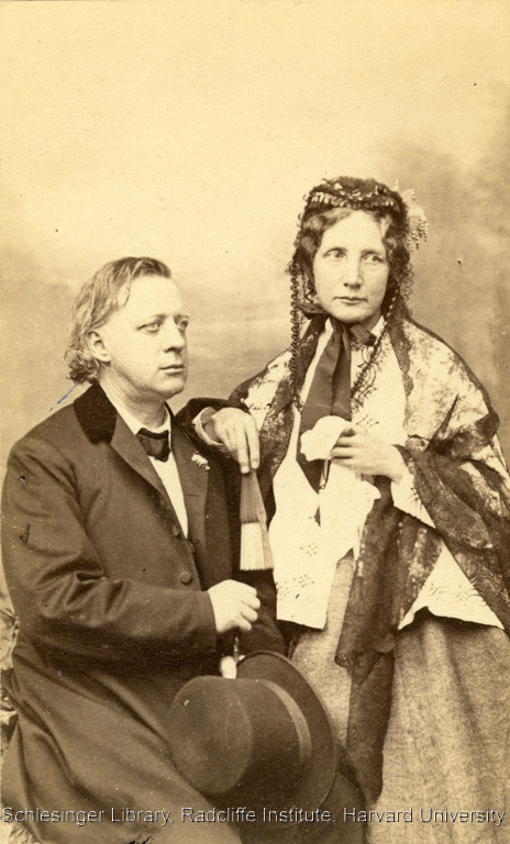 Formal portrait of Harriet Beecher Stowe and her brother, Henry Ward Beecher