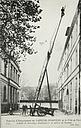Government, City: France. Paris. Municipal Fire Protection: Municipal Fire-Protection, Paris, France: Firemen in active service: Echelle de Sauvetage développée à 20 mètres de hauteur.   Social Museum Collection