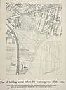 Government, City: Germany. Frankfurt a. M. Town Plan: Town Planning, Germany: Laying out a new building estate belonging to a number of owners. Plan showing the re-adjustment and the re-arrangement of the plots in the Kieshaide district. (35 acres and 54 owners.) in Frankfort on the Maine.: Plan of building estate before the re-arrangement of the plots. Note: The faint black lines indicate the divisions betweenthe various plots of land (54 owners) and the dotted lines the proposed new streets..   Social Museum Collection