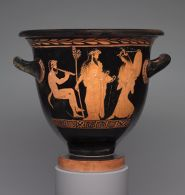 Bell Krater (mixing bowl for wine and water): Dionysos with Satyr and Maenad; Death of Orpheus