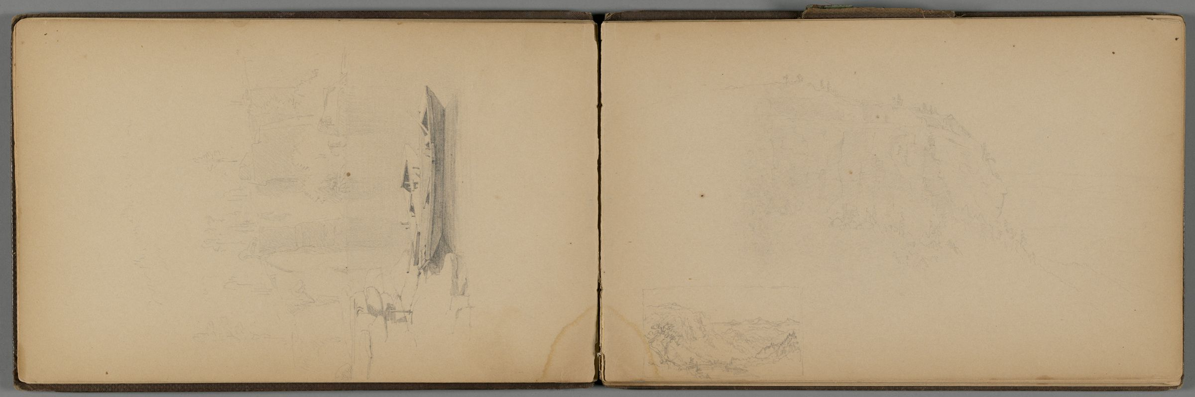 Two Landscapes; Verso: Cliff Scene With Figure