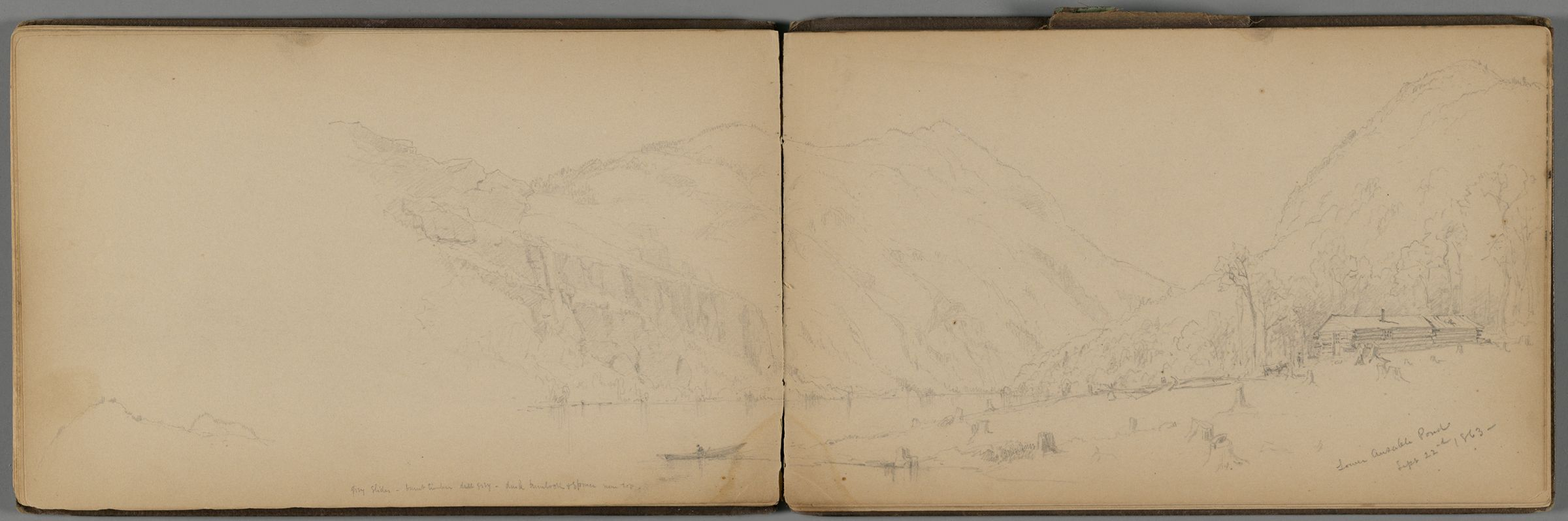 Ausable Pond Landscape With Cabin; Verso: Mt. Mcintyre From Lake Placid-Sept 27Th 1863