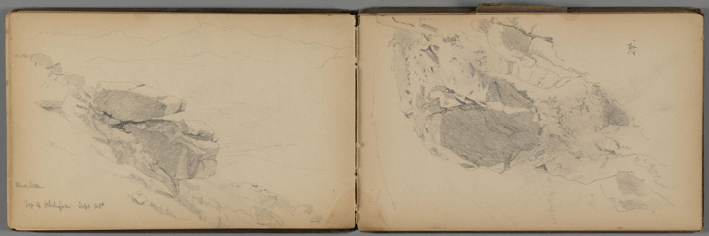 Rocky Cliff; Verso: Partial Adirondack Landscape