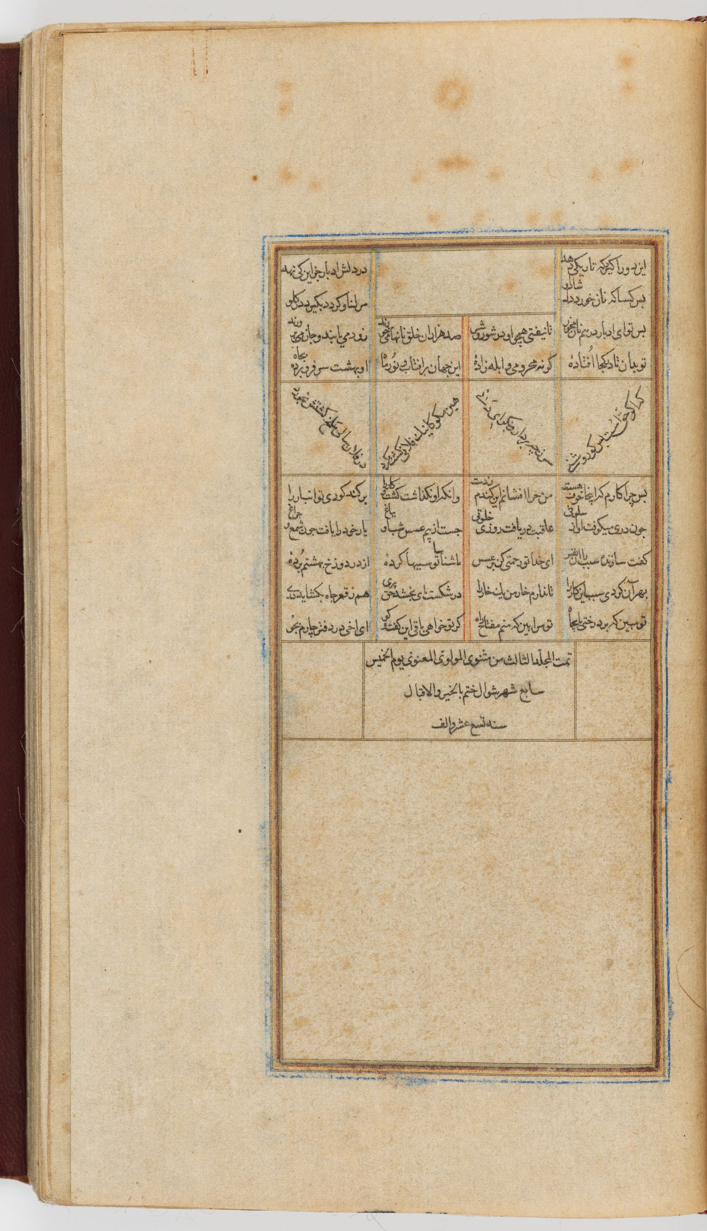 Colophon Of The Third Section (Colophon Recto; Blank Verso Of Folio 144), From A Manuscript Of The Mathnavi Ma'navi By Maulana Jalal Al-Din Rumi