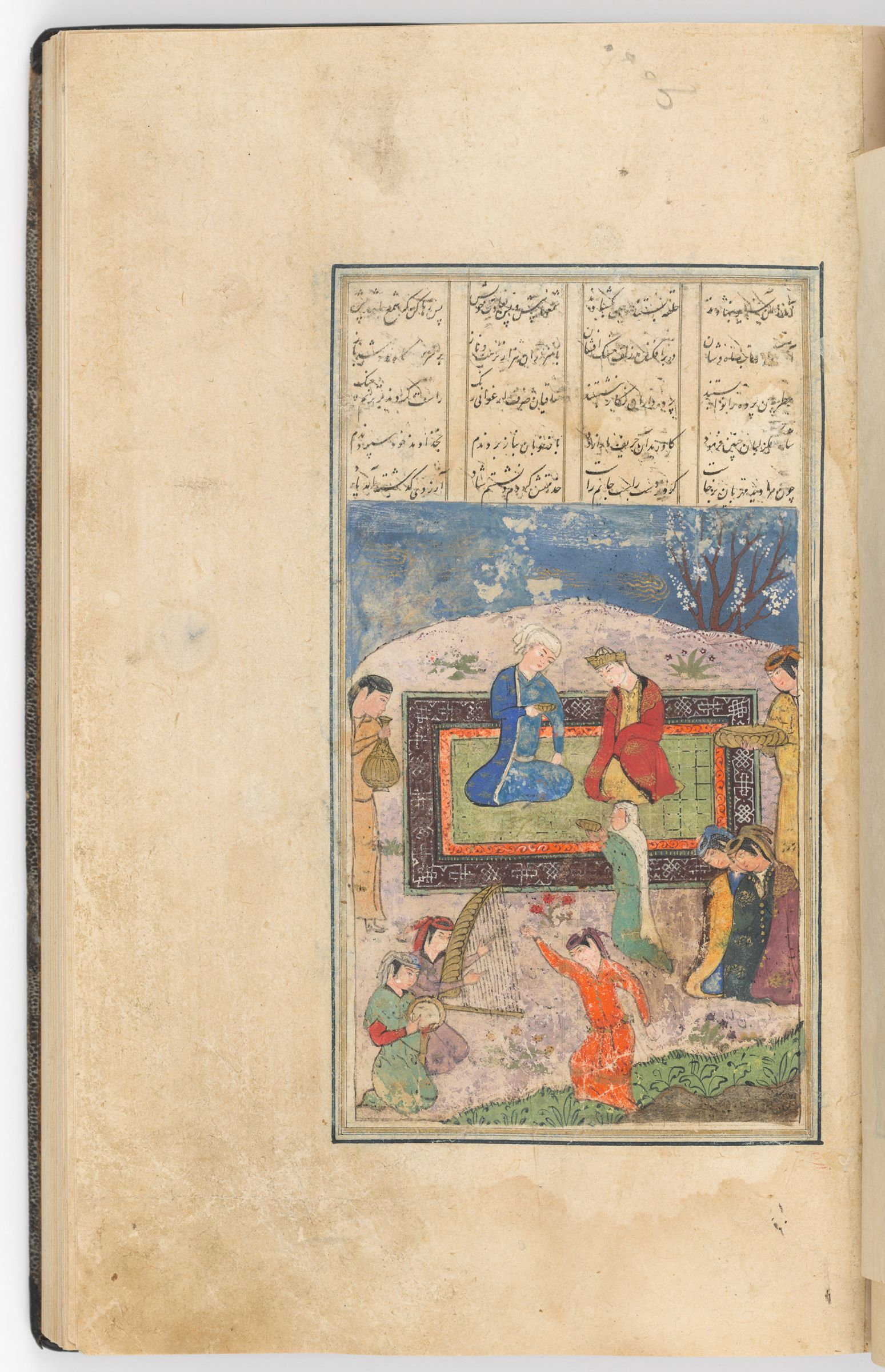 Bahram And A Courtly Feast (Text Verso; Painting Recto Of Folio 210), Painting From A Manuscript Of The Khamsa By Nizami