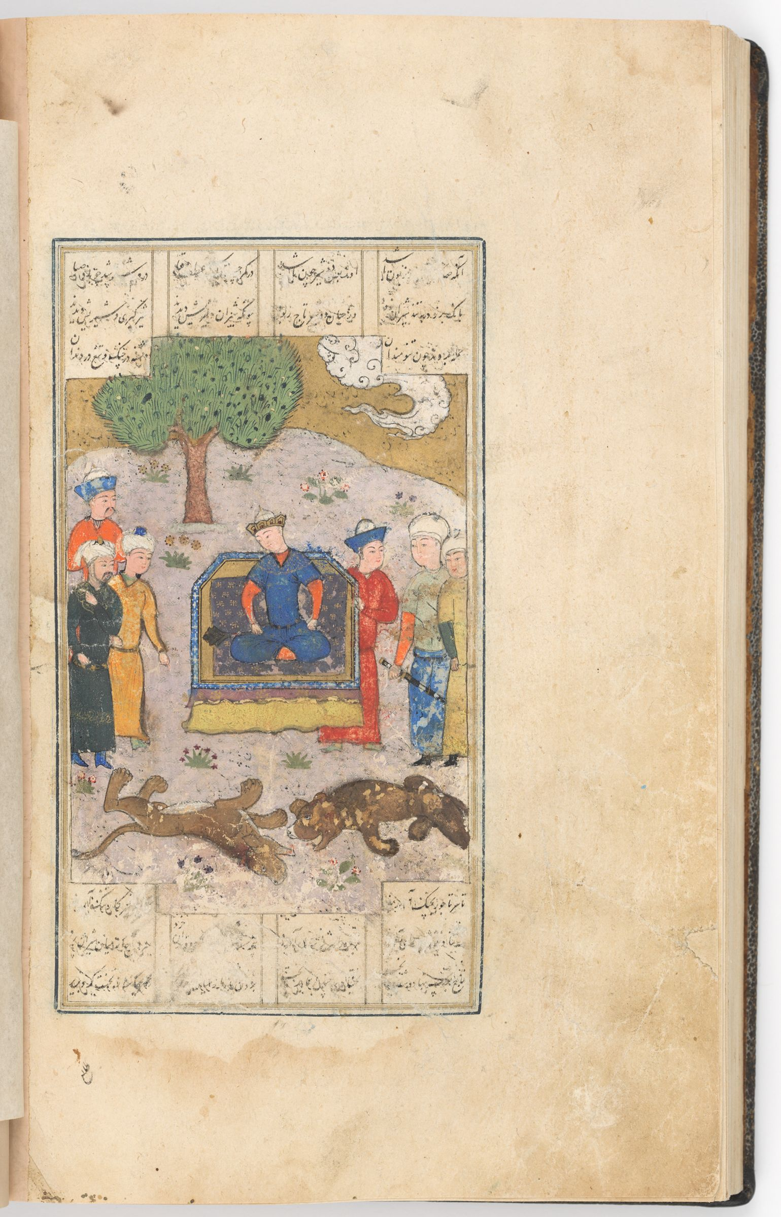 Bahram Gur Gains Ardashir's Quest Of The Crown (Text Recto; Painting Verso Of Folio 196), Painting From A Manuscript Of The Khamsa By Nizami