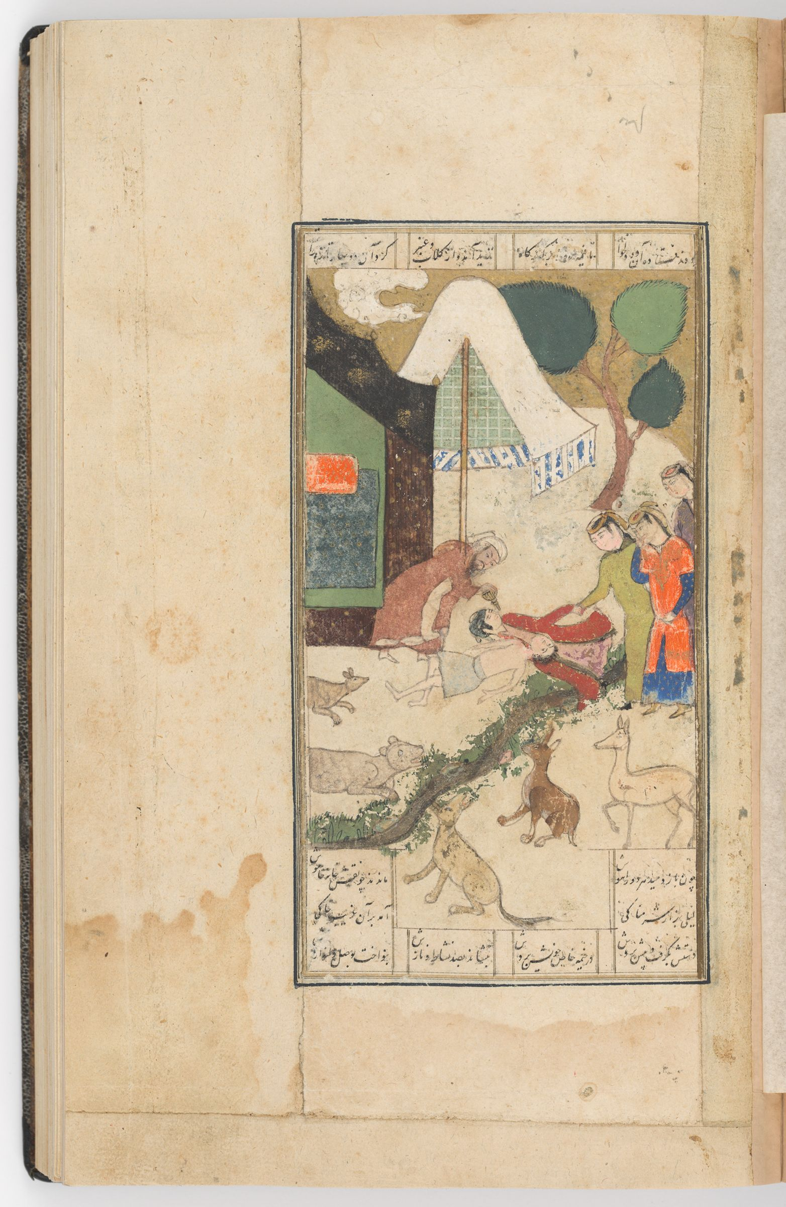 """Layla And Majnun Fainted (Text Verso; Painting Recto Of Folio 160), Painting From A Manuscript Of The Khamsa By Nizami"""""""