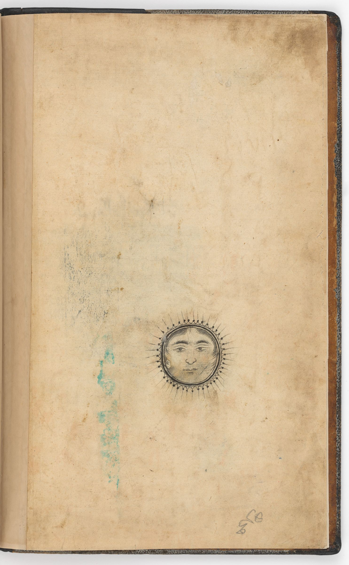 Flyleaf With A Drawing And Erased Seal Impressions (Erased Seal Impression Recto; Drawing Verso Of Folio 1), Folio From A Manuscript Of The Khamsa By Nizami