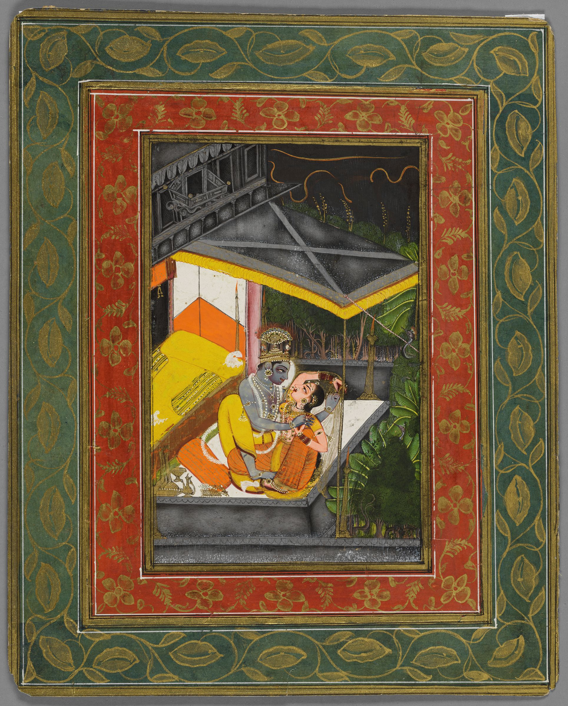 Krishna And Radha Embrace During A Storm (Recto); Priests Worship Shrinathji (Verso); Folio From A Royal Kota-Jaipur Album