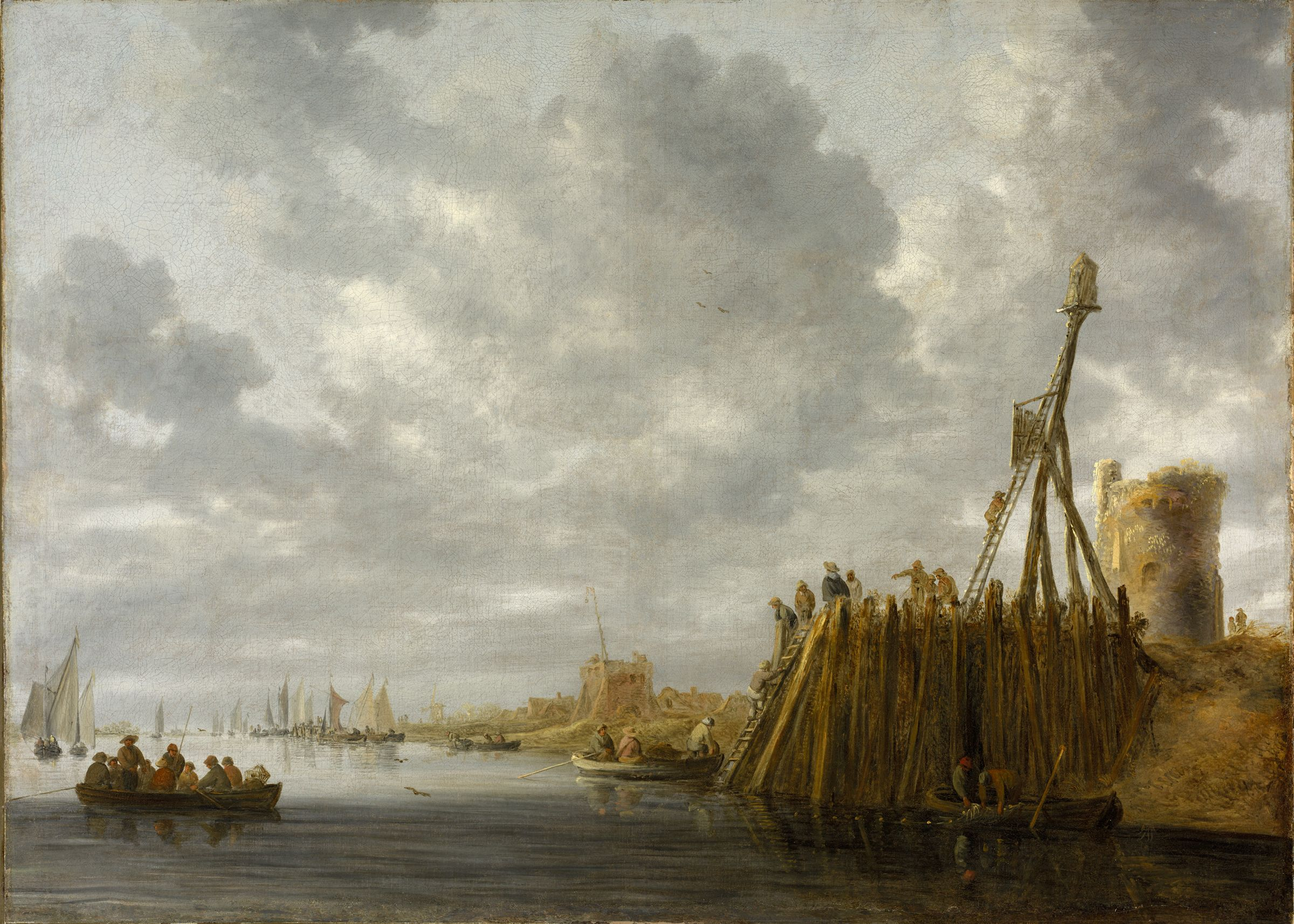 Harbor Scene With A Watchtower And Beacon