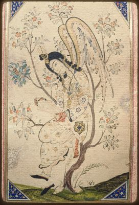 """<bdi class=""""metadata-value"""">Main Title: Album (TSK H. 2162)</bdi><br><bdi class=""""metadata-value"""">Image Title: Full view of a folio from H. 2162; an angel perched in a tree attributed to Velican 14174614</bdi>"""