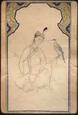 """<bdi class=""""metadata-value"""">Main Title: Album (TSK H. 2162)</bdi><br><bdi class=""""metadata-value"""">Image Title: Full view of a folio from H. 2162; a falcon perched on a young prince's hand 14174616</bdi>"""
