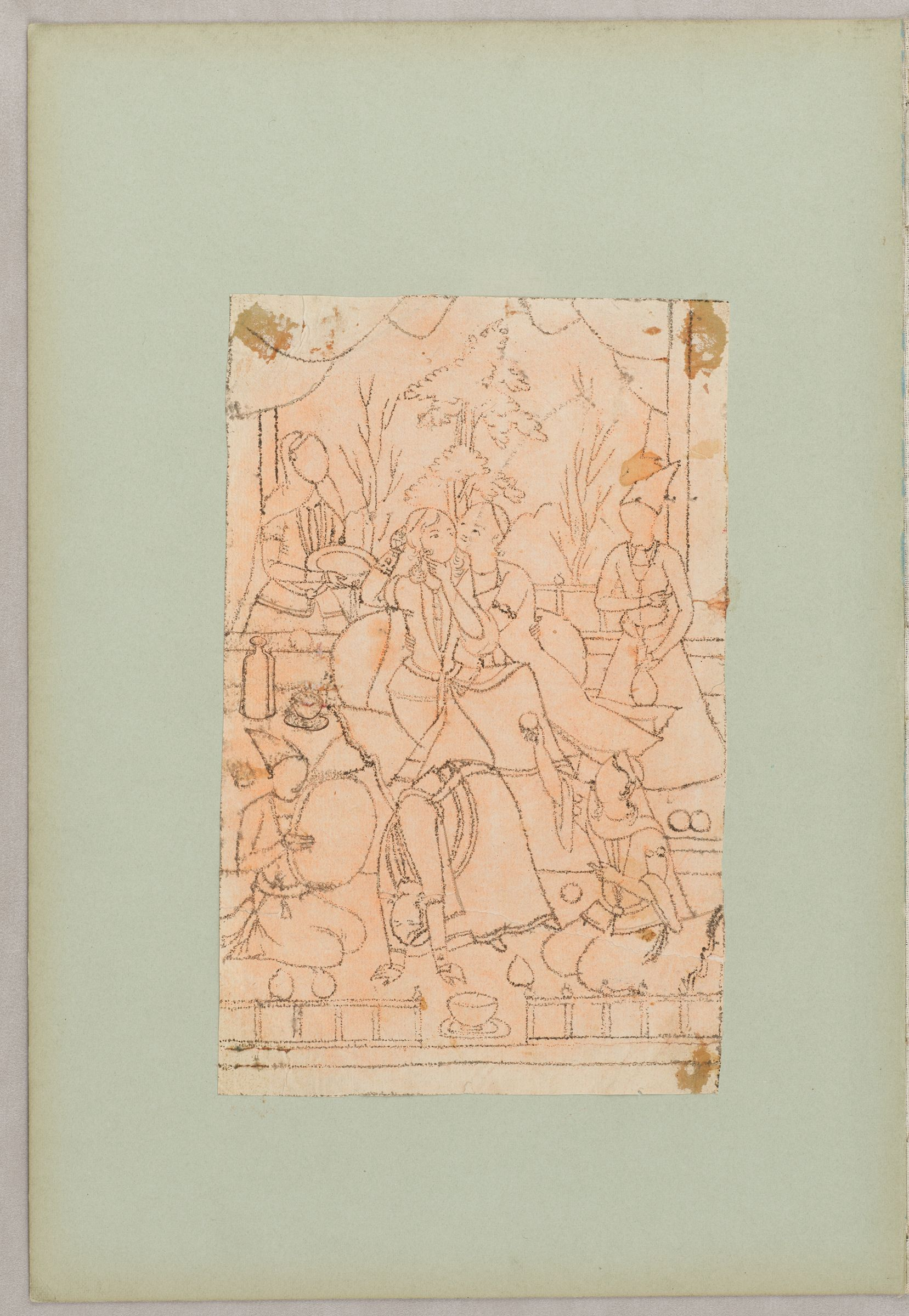 Folio 7 From An Album Of Artists' Drawings From Qajar Iran: Embracing Couple On Terrace, Attended By Servants, Dancers, And Musicians (Recto); Standing Woman With Headscarf (Verso)