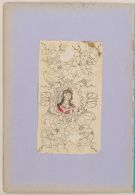Folio 3 from an Album of Artists' Drawings from Qajar Iran: Medallion with portrait bust of a European woman, enclosed in symmetrical composition of scrollwork, birds, flowers, and butterflies 