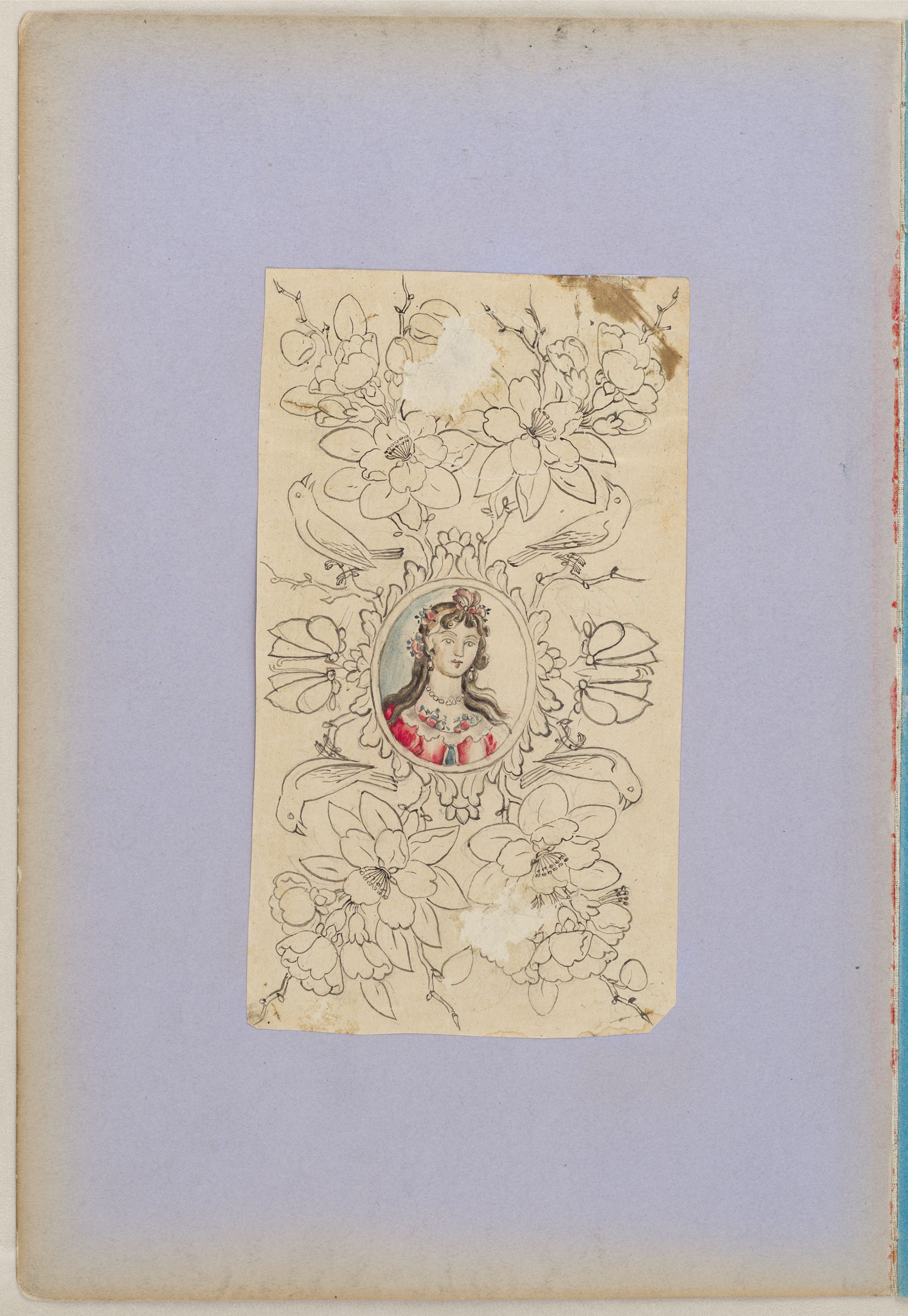Folio 3 From An Album Of Artists' Drawings From Qajar Iran: Medallion With Portrait Bust Of A European Woman, Enclosed In Symmetrical Composition Of Scrollwork, Birds, Flowers, And Butterflies   (Recto); Hunter With Falcon, Hound, And Rifle (Verso)