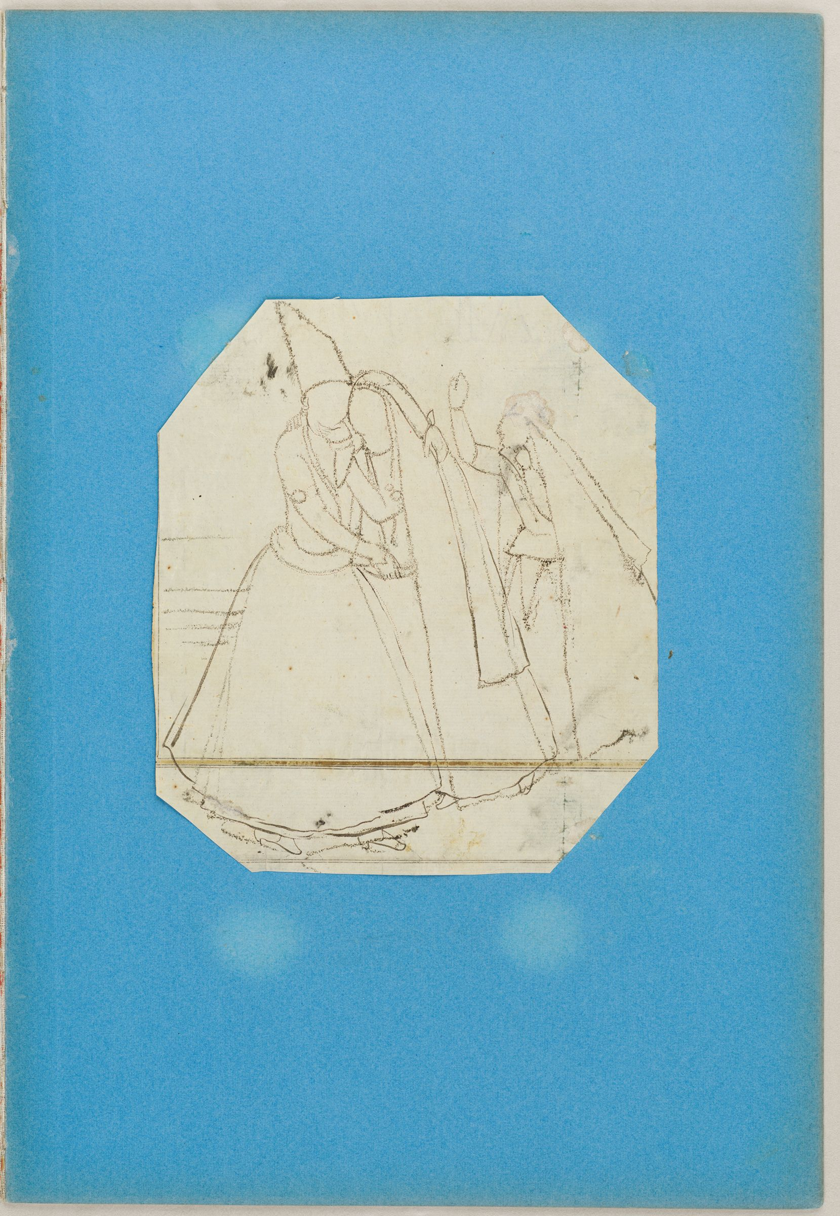 Folio 4 From An Album Of Drawings And Paintings: Dancer With Finger-Cymbals (Recto); Embracing Couple Approached By A Woman (Verso)