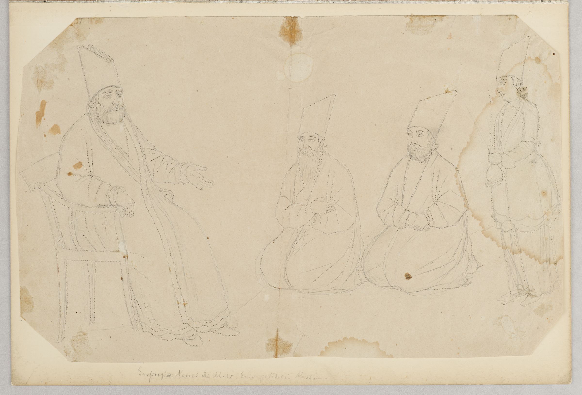 Folio 9 From An Album Of Drawings And Paintings: Amir Kabir In Audience With Kneeling Courtiers (Recto); Blank Page (Verso)