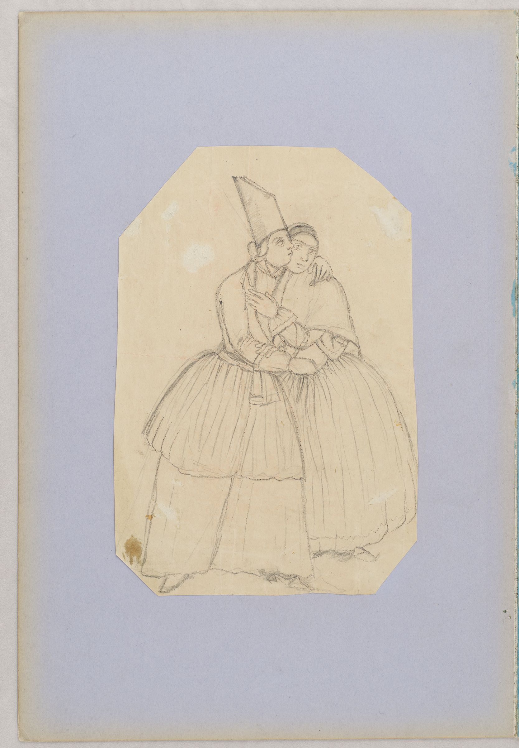 Folio 5 From An Album Of Drawings And Paintings: Embracing Couple (Recto); Seated Woman And Child In Classical Dress With Kneeling Attendant And Peacock (Verso)