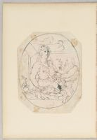 Folio 20 From An Album Of Drawings And Paintings: Holy Family With Winged Angel In Oval Frame (Recto); Three Drawings Of Figures In European Dress (Verso)
